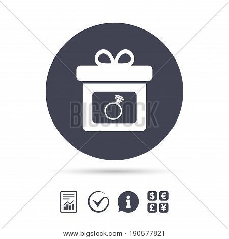 Gift box sign icon. Present with engagement ring symbol. Report document, information and check tick icons. Currency exchange. Vector
