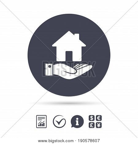 Home and hand sign icon. Palm holds house symbol. Report document, information and check tick icons. Currency exchange. Vector