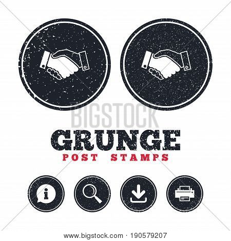 Grunge post stamps. Handshake sign icon. Successful business symbol. Information, download and printer signs. Aged texture web buttons. Vector