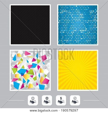 Carbon fiber texture. Yellow flare and abstract backgrounds. Handshake icons. World, Smile happy face and house building symbol. Dollar cash money. Amicable agreement. Flat design web icons. Vector