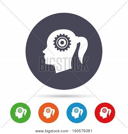 Head with gear sign icon. Female woman human head think symbol. Round colourful buttons with flat icons. Vector