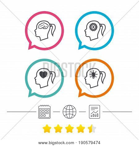 Head with brain and idea lamp bulb icons. Female woman think symbols. Cogwheel gears signs. Love heart. Calendar, internet globe and report linear icons. Star vote ranking. Vector