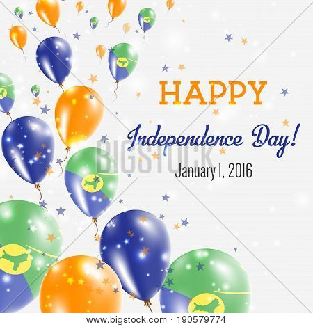 Christmas Island Independence Day Greeting Card. Flying Balloons In Christmas Island National Colors