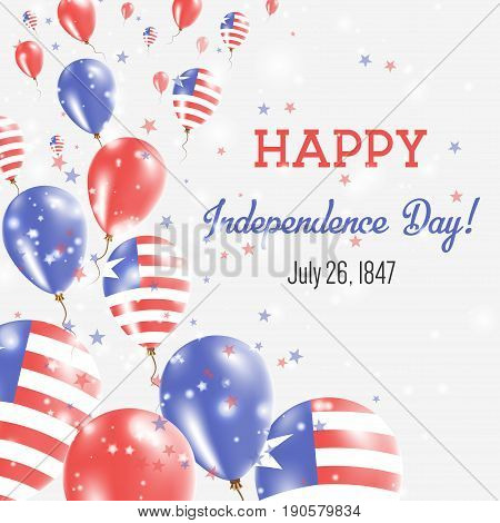 Liberia Independence Day Greeting Card. Flying Balloons In Liberia National Colors. Happy Independen