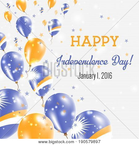 Marshall Islands Independence Day Greeting Card. Flying Balloons In Marshall Islands National Colors