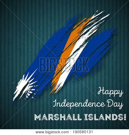 Marshall Islands Independence Day Patriotic Design. Expressive Brush Stroke In National Flag Colors
