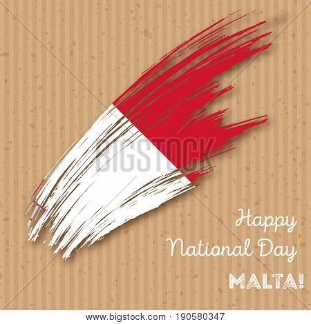Malta Independence Day Patriotic Design. Expressive Brush Stroke In National Flag Colors On Kraft Pa