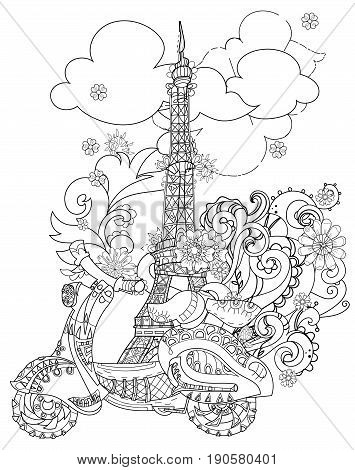 Motor scooter doodle in nice sixties Paris style.Hand drawn doodle.Vector zen art illustration.Floral ornament.Sketch for tattoo or adult coloring pages.Boho style.