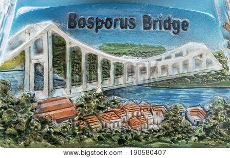 Bosphorus Bridge or Turkey model painting engraved