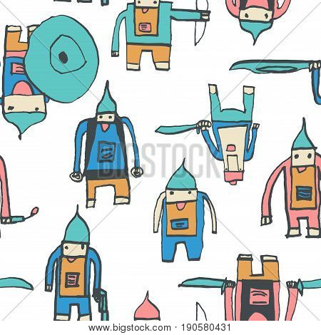 Hero Seamless Pattern. Memorable Child's Drawing With School Pen. Cute Hero Hand Drawn With Colorful