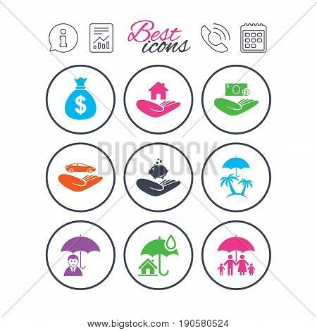 Information, report and calendar signs. Insurance icons. Life, Real estate and House signs. Money bag, family and travel symbols. Phone call symbol. Classic simple flat web icons. Vector