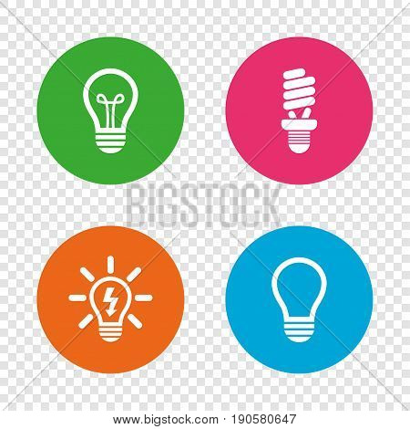 Light lamp icons. Fluorescent lamp bulb symbols. Energy saving. Idea and success sign. Round buttons on transparent background. Vector