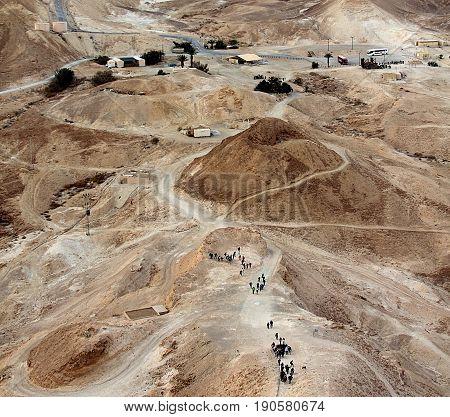 View on ancient Roman road from historic Masada fortress, Israel.