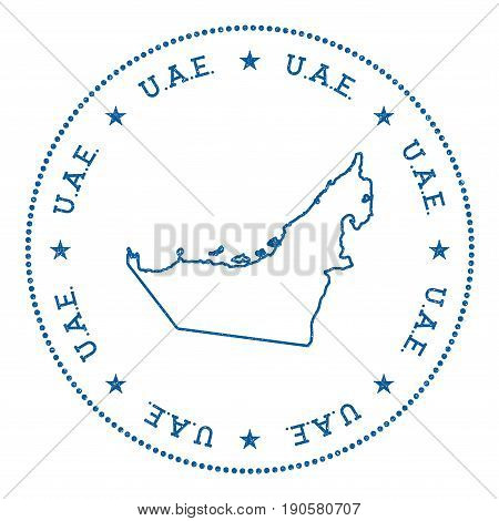United Arab Emirates Vector Map Sticker. Hipster And Retro Style Badge With United Arab Emirates Map
