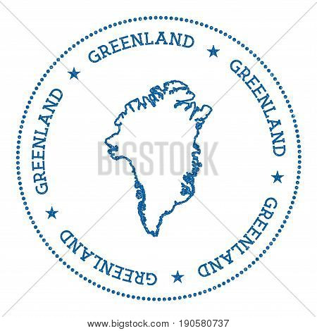 Greenland Vector Map Sticker. Hipster And Retro Style Badge With Greenland Map. Minimalistic Insigni