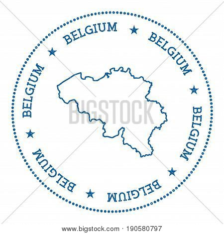 Belgium Vector Map Sticker. Hipster And Retro Style Badge With Belgium Map. Minimalistic Insignia Wi