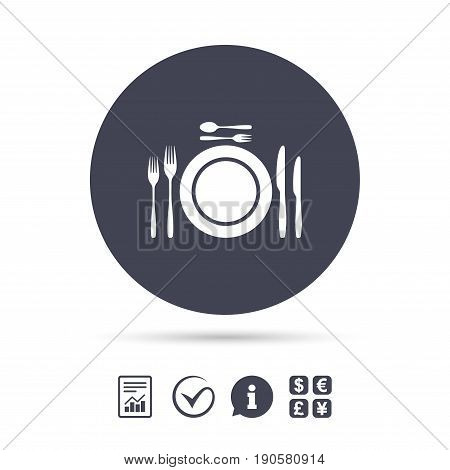 Plate dish with forks and knifes. Dessert trident fork with teaspoon. Eat sign icon. Cutlery etiquette rules symbol. Report document, information and check tick icons. Currency exchange. Vector