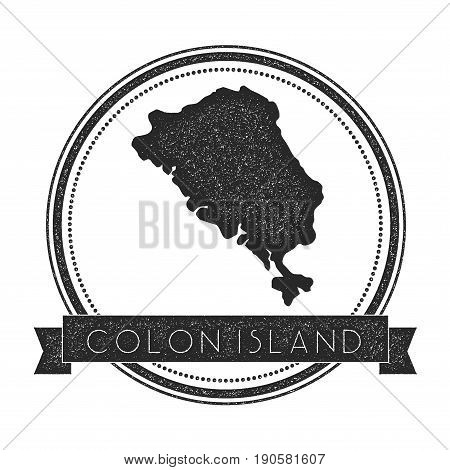 Colon Island Map Stamp. Retro Distressed Insignia. Hipster Round Badge With Text Banner. Island Vect