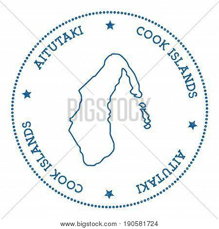 Aitutaki Map Sticker. Hipster And Retro Style Badge. Minimalistic Insignia With Round Dots Border. I