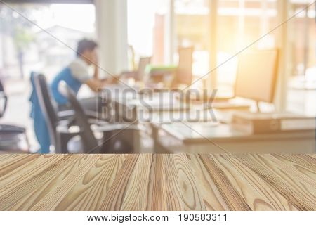 Businessmen Blur In The Workplace.table Top And Blur Office Of Background.abstract Blurred Backgroun