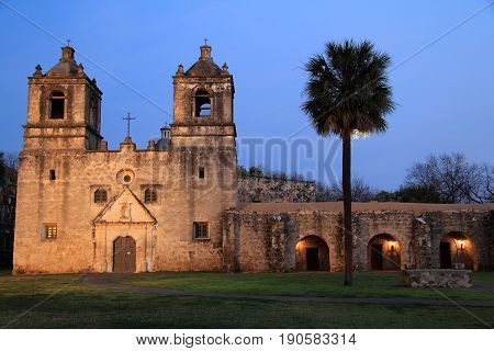 Mission Concepcion Illuminated at Night, San Antonio Missions National Historical Park, Texas