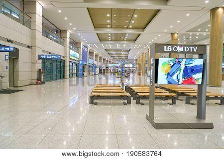 INCHEON, SOUTH KOREA - CIRCA MAY, 2017: inside Incheon International Airport.