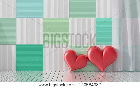 Two red hearts in the room. The wood walls are decorated with bright colors and variety. Rooms of Love on Valentine`s Day. Background and interior. 3D render.