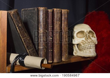 Old books and skull on the shelf