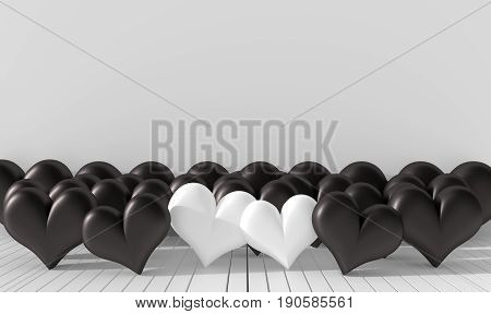 Two white hearts and many black hearts in the room. The  walls are decorated with white bright colors. Rooms of bad love on Valentine`s Day. Background and interior. 3D render.