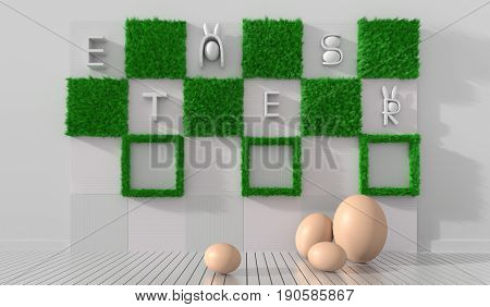 Happy easter day background with  eggs on  white wood floor and white slat decorate with green grass  and alphabet. Happy Easter greetings. 3D render.