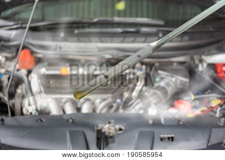 Car engine damage and burn by overheat due to low lube oil Concept of car care service.