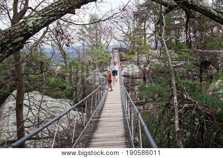 horizontal image of three caucasian women walking across a long swinging bridge among foliage and trees at Waterton National Park in the summer time.