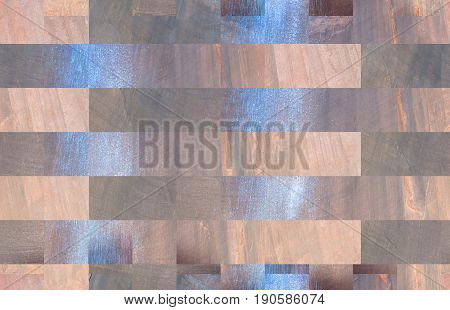 horizontal computer generated abstract background image of rectangles in tan and blue and grey colors filling the whole image and great for use as a background