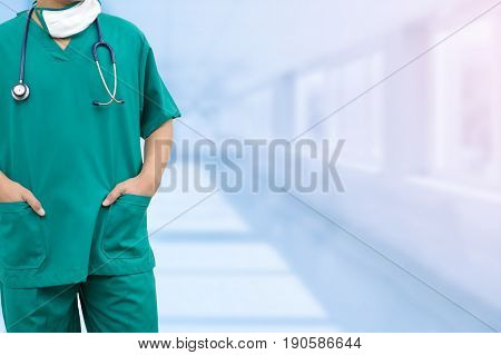 Male Surgeon Doctor Standing In Hospital