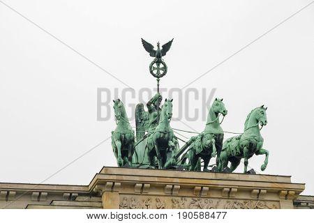 Statue Quadriga on Brandenburg gate in Berlin.