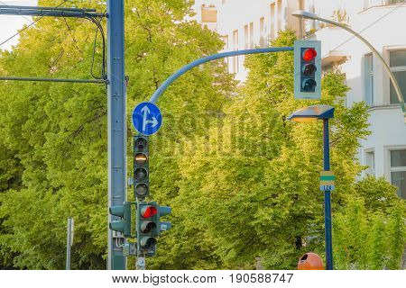 Street Traffic Lights For Road Vehicles And Tram In The City Of Berlin