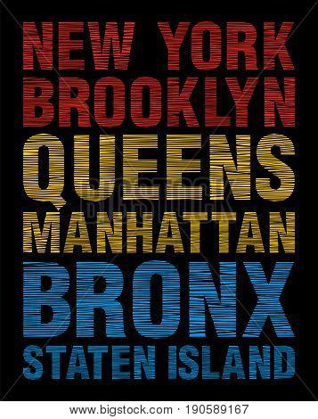New York, Brooklyn, Queens, Manhattan, Bronx, Staten Island, Vector Image