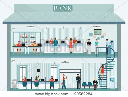 Bank building exterior and interior with counter service cashier consulting financial services and atm business finance vector illustration.