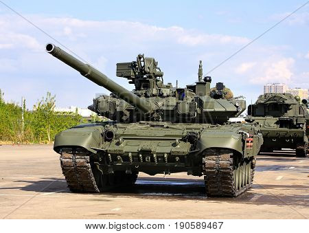 Russian main battle tank on the parking place