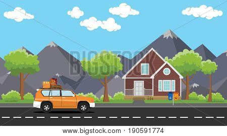 car move with a pack of lot goods on the road with house and tree mountain as background vector