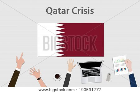 qatar crisis with hand team discuss the economy with qatar flag vector