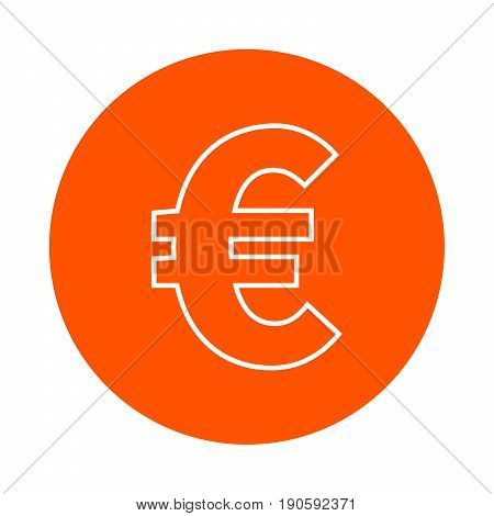 Symbol of euro european currency vector monochrome round icon flat style