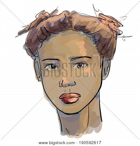 Hand-drawn graphics fashion portrait with beautiful young african american woman inviting girl top model. For your design logo signage brochures booklets on business cards in beauty salons. Vector sketch style
