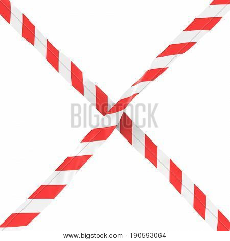 Red And White Striped Barrier Tape Cross Isolated On White Background 3D Illustration
