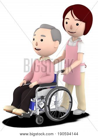 A female helper to help with an old man sitting on a wheelchair,3D illustration