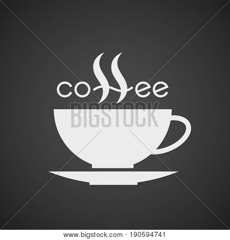 Coffee cup. Lettering isolated on black background. Eps8. RGB Global color