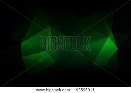 Glowing Neon Green Low Poly Background