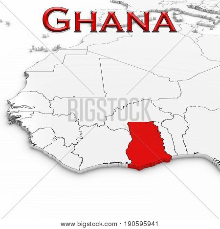 3D Map Of Ghana With Country Name Highlighted Red On White Background 3D Illustration