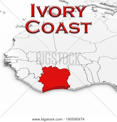 3D Map Of Ivory Coast With Country Name Highlighted Red On White Background 3D Illustration