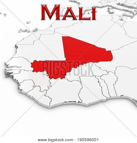 3D Map Of Mali With Country Name Highlighted Red On White Background 3D Illustration